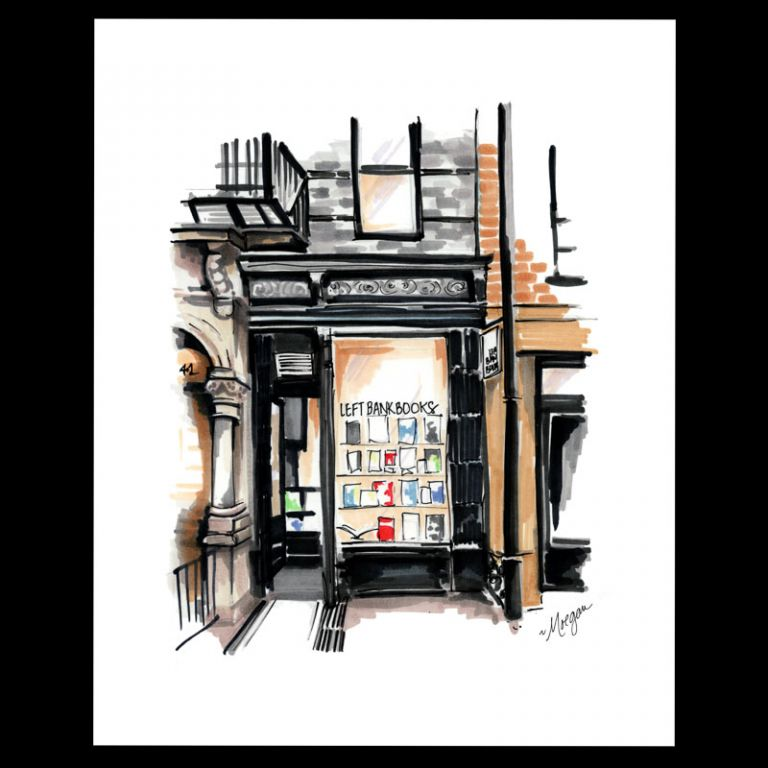 Left Bank Books signed print. Left Bank Books, Morgan Swank Studio.